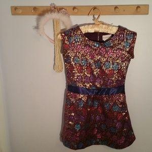 American Girl Size 7 Purple Gold Brocade Dress